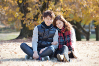 Young couples dating in autumn park Stock photo [3300340] Men