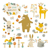Animals material of autumn forest stock photo