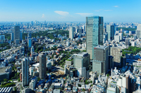 Tokyo Midtown and urban landscape spread blue sky Stock photo [3303528] Blue