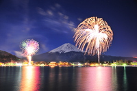 Winter fireworks from Lake Kawaguchi and Mount Fuji Stock photo [3597685] Fireworks