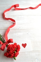 Red carnation bouquet and message card Stock photo [3690061] Carnation