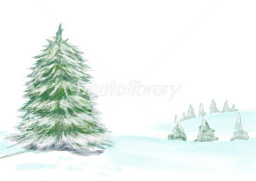 樅の木と雪が積もった野山 風景イラスト イラスト素材 3810545