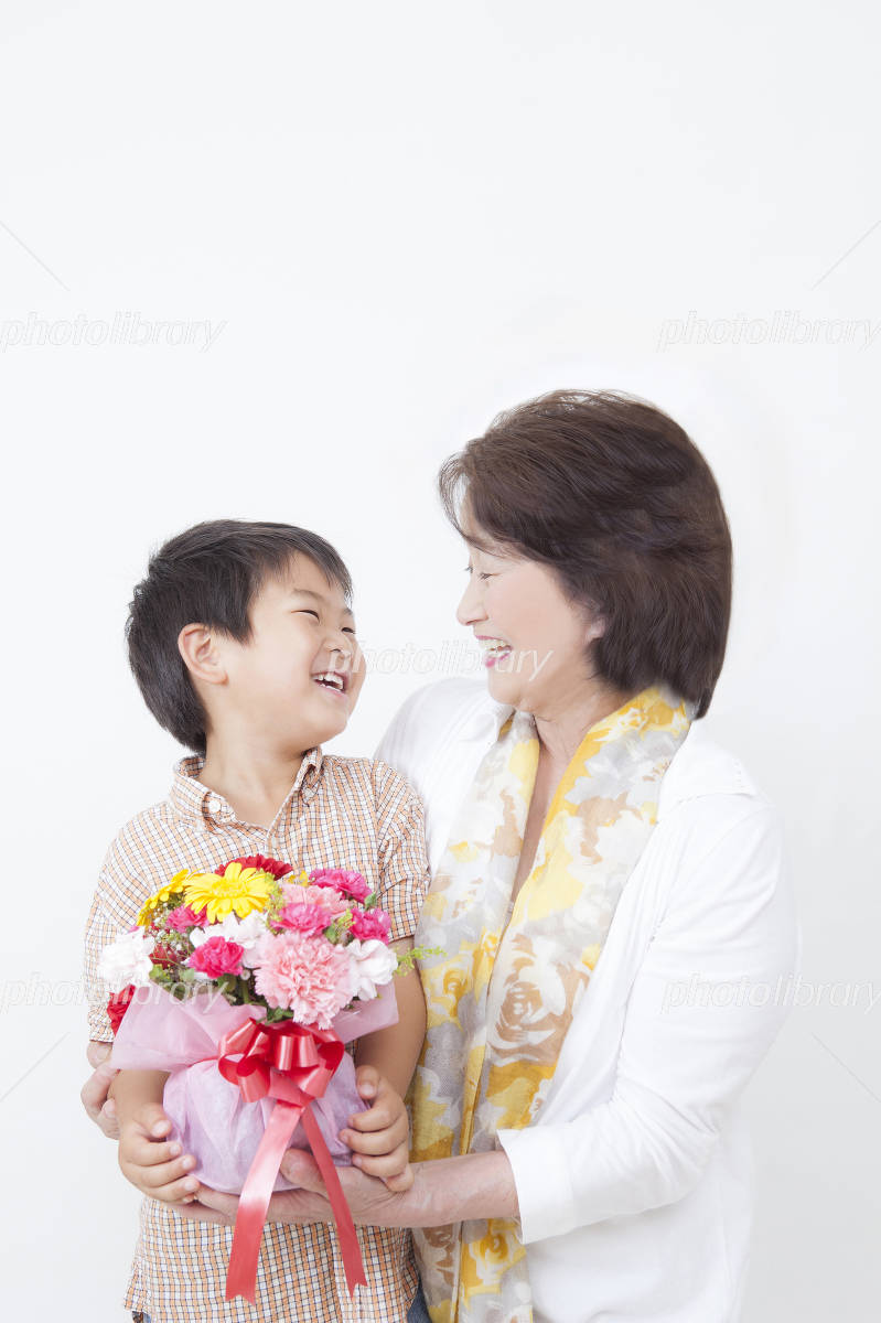 Children with a bouquet and senior Photo