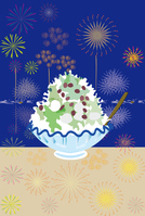Shaved ice and fireworks summer of message card [3915256] Shaved