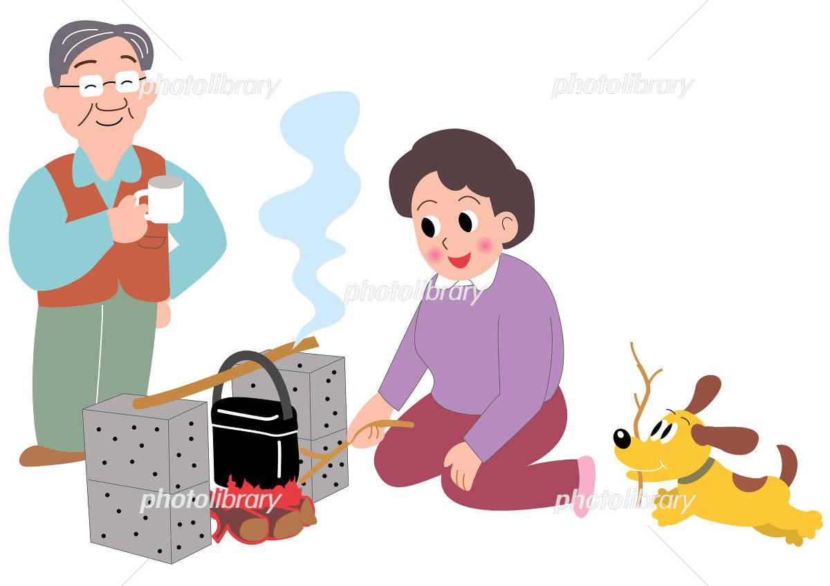 キャンプでハンゴウ炊飯するお母さんとお父さんと犬 イラスト素材