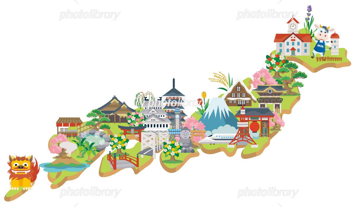 Japan attractions イラスト素材