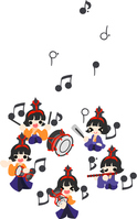 Doll Festival five court musicians illustrations [4088089] Doll