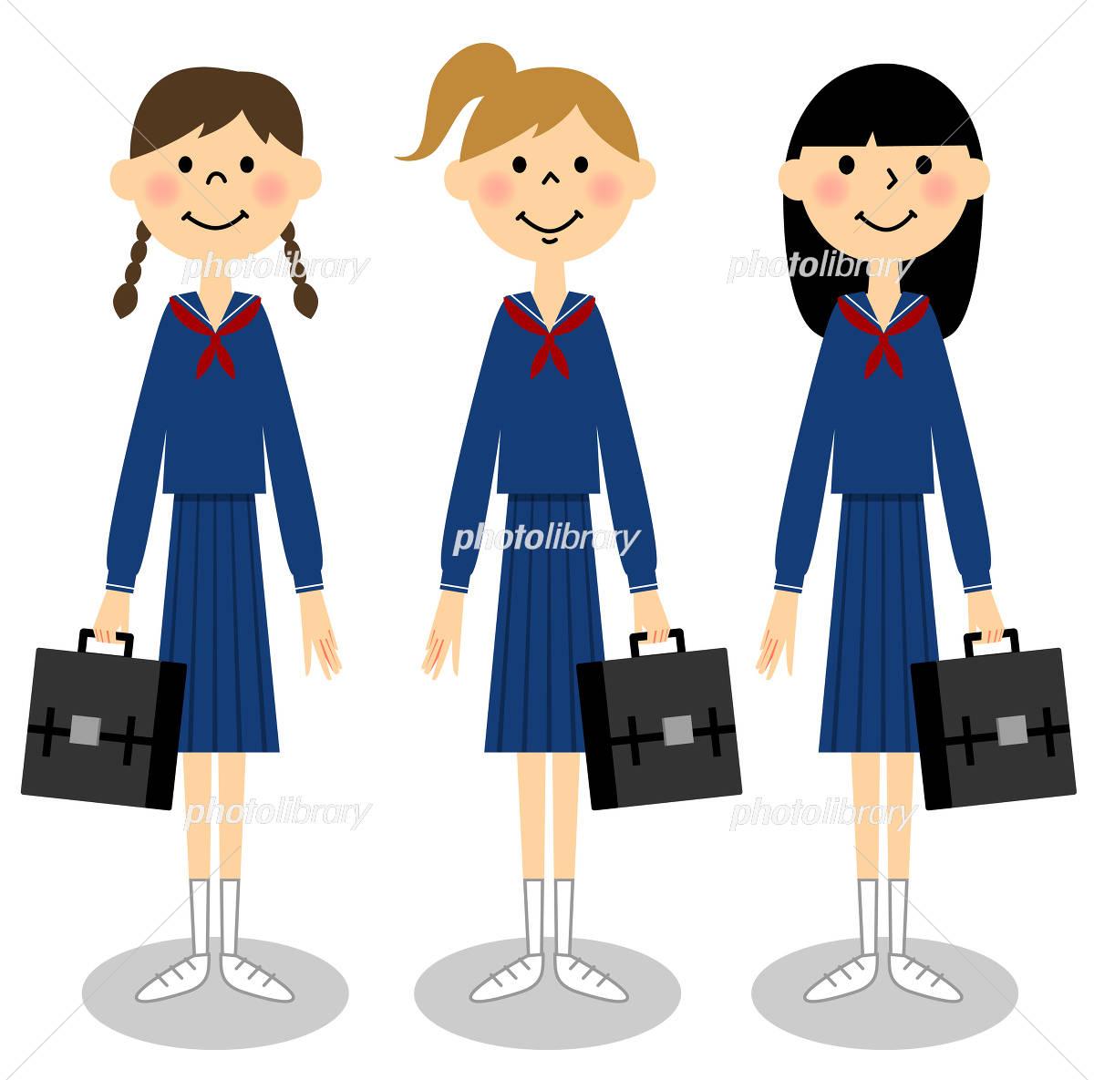 通学イメージ 女子中学生 イラスト素材 4211507 フォトライブ