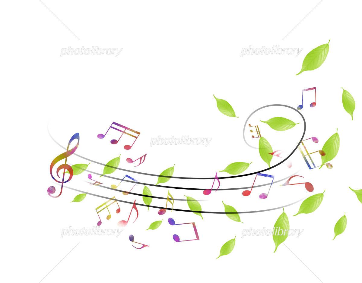 新緑と譜面 五線譜 音楽 音符 イラスト素材 4318827 フォトライブ