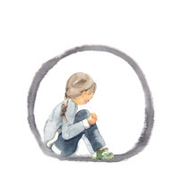 Lonely, girl, black circles [4313892] children