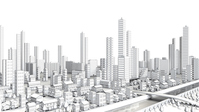 Line drawing of the distant view of the urban areas [4325210] building