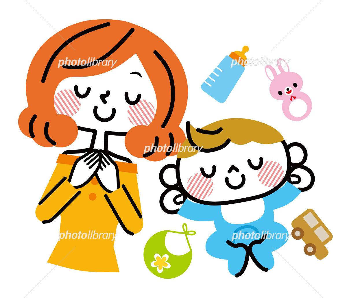 赤ちゃんとママ お昼寝 イラスト素材 4393036 フォトライブラリー