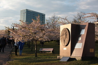 Chiune Sugihara monument of Vilnius Sakura Park Stock photo [4402396] Chiune