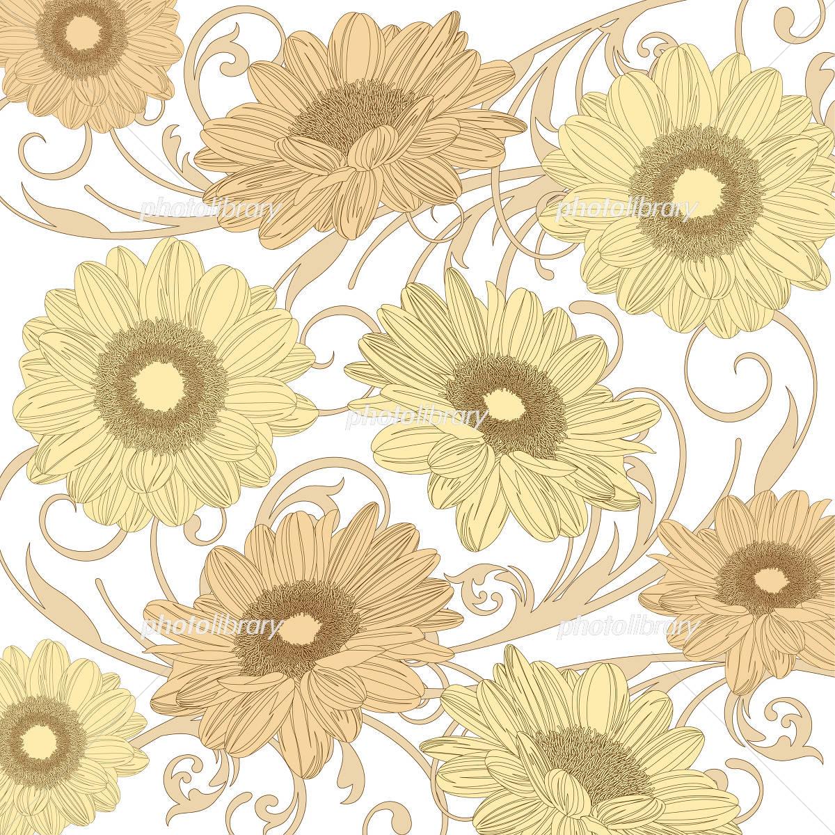 向日葵のレトロな背景 イラスト素材 4481351 フォトライブラリー