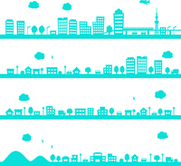 Set of silhouette illustrations of cities and towns [4485512] Cityscape