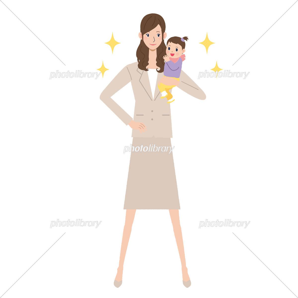 子育て 働く 女性 イラスト素材 4562663 フォトライブラリー