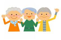 Cheerful senior woman three people [4625180] Senior