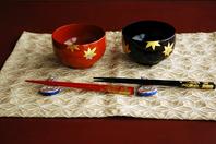 Couple soup bowl of autumn leaves Stock photo [4626567] Wajima