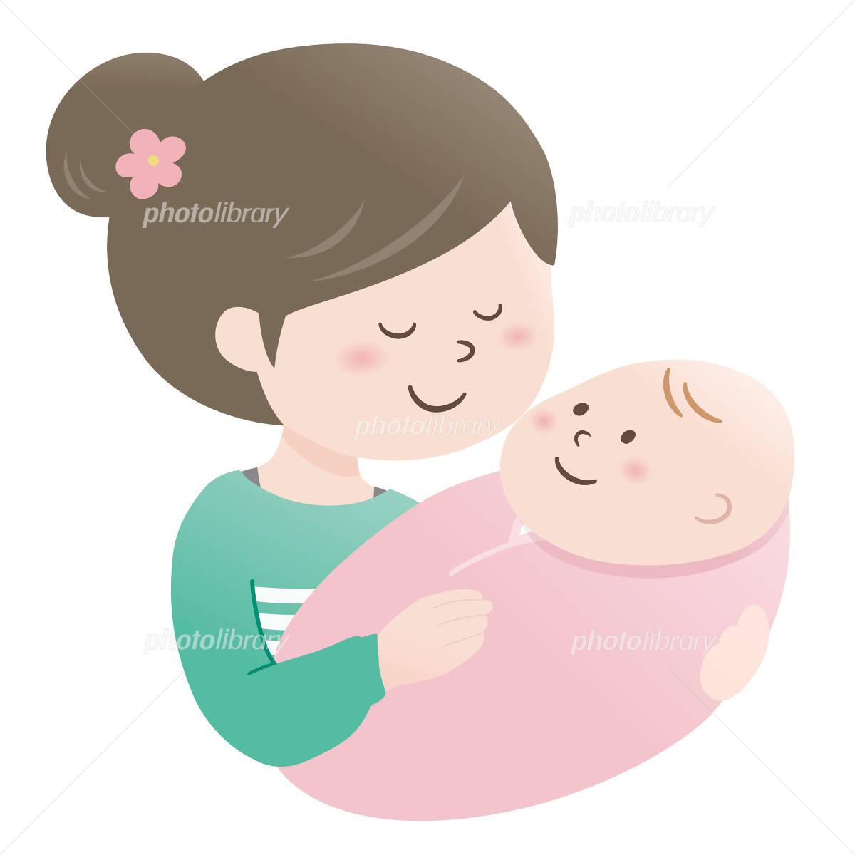 ママと赤ちゃん抱っこ イラスト素材 4758215 フォトライブ