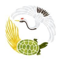 Auspicious patterns crane and tortoise [4757447] simple