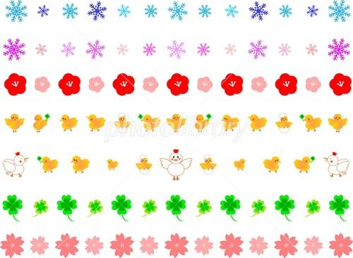 かわいいライン素材セット冬春 イラスト素材 4840645 無料
