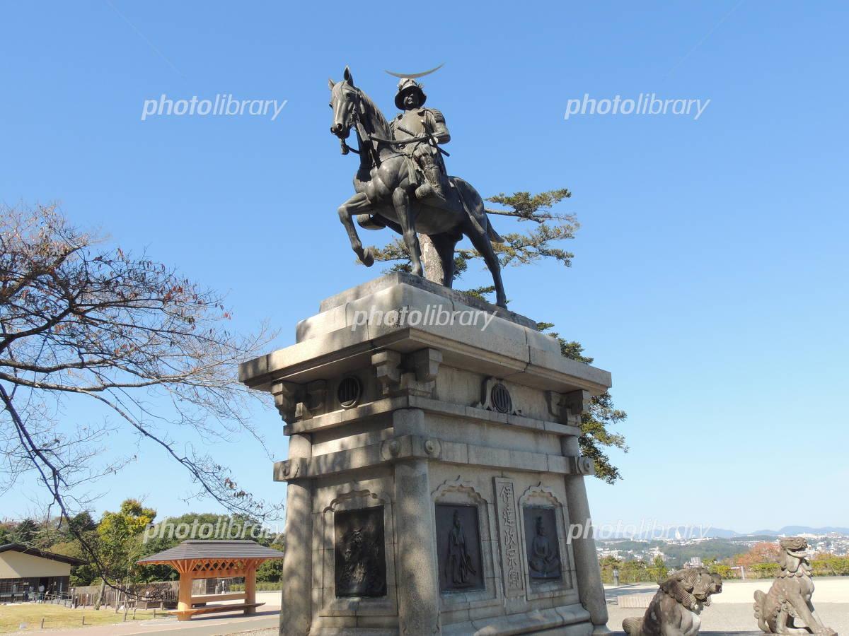 青葉城の伊達政宗像 写真素材