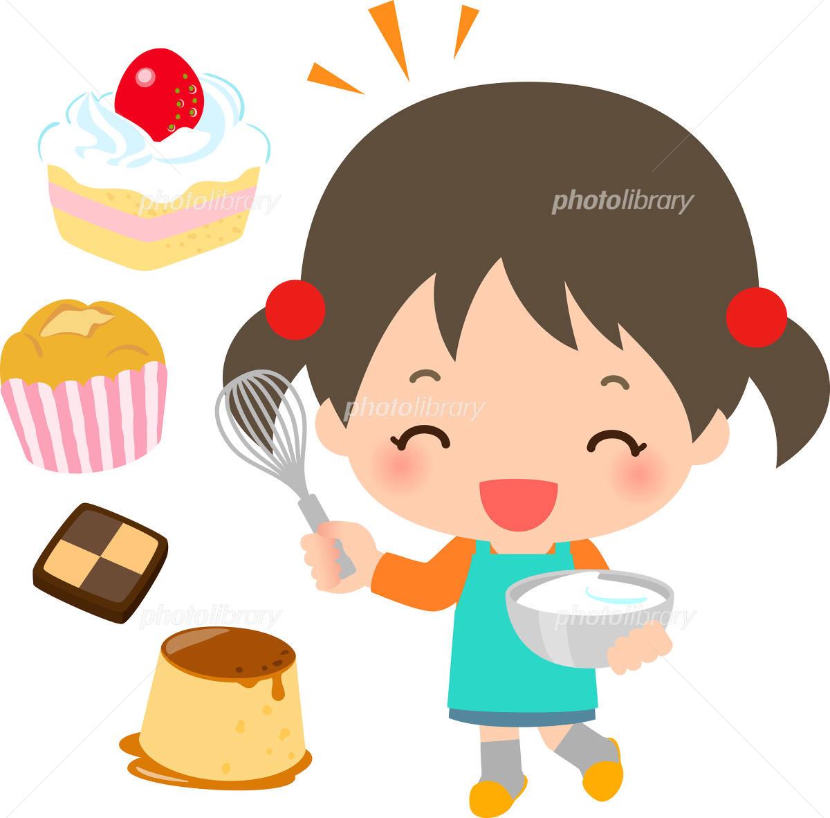 お菓子を作る笑顔の女の子 イラスト素材 4955371 フォトライブ