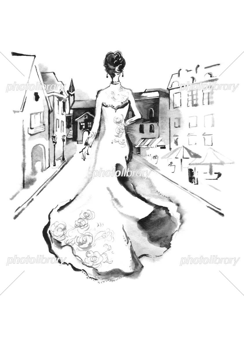 モノクロ ウェディングドレスと街並 イラスト素材 [ 5047650