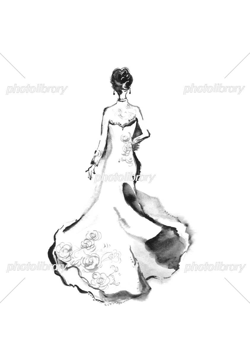 モノクロ ウェディングドレス イラスト素材 5047653 フォトライブ