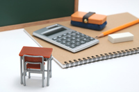 Learning desk blackboard calculator education image Stock photo [5045305] Learning