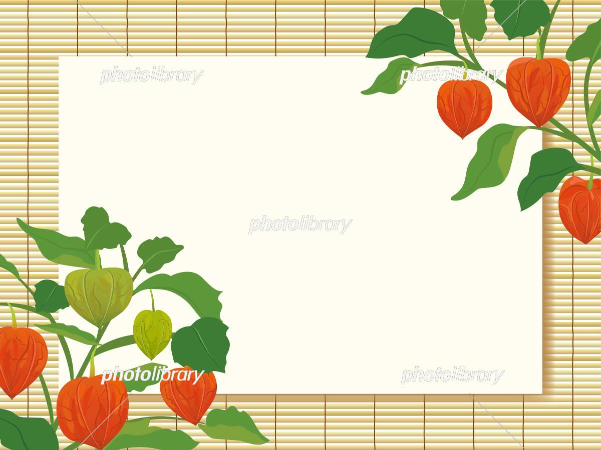すだれとほおずき 和風の夏イメージ背景 イラスト素材 [ 5137919