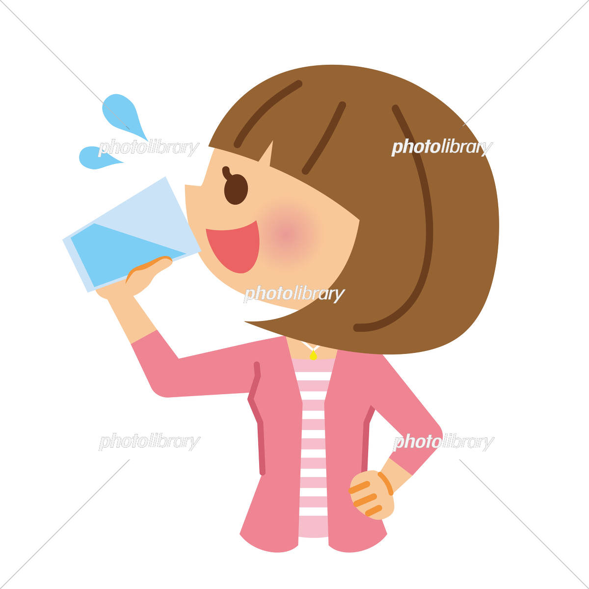 水分補給 女性 イラスト素材 5140141 フォトライブラリー Photolibrary