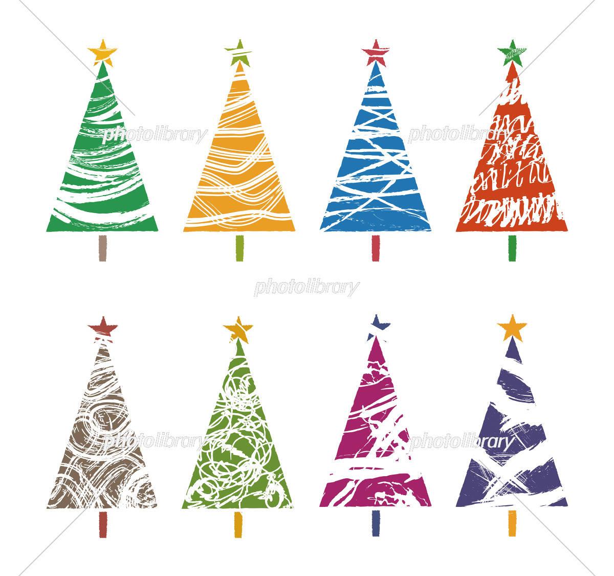 いろいろな模様の色とりどりなクリスマスツリー イラスト素材