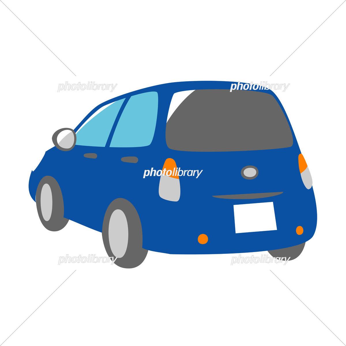 青い車 斜め背面 イラスト素材 [ 5327197 ] - フォトライブラリー