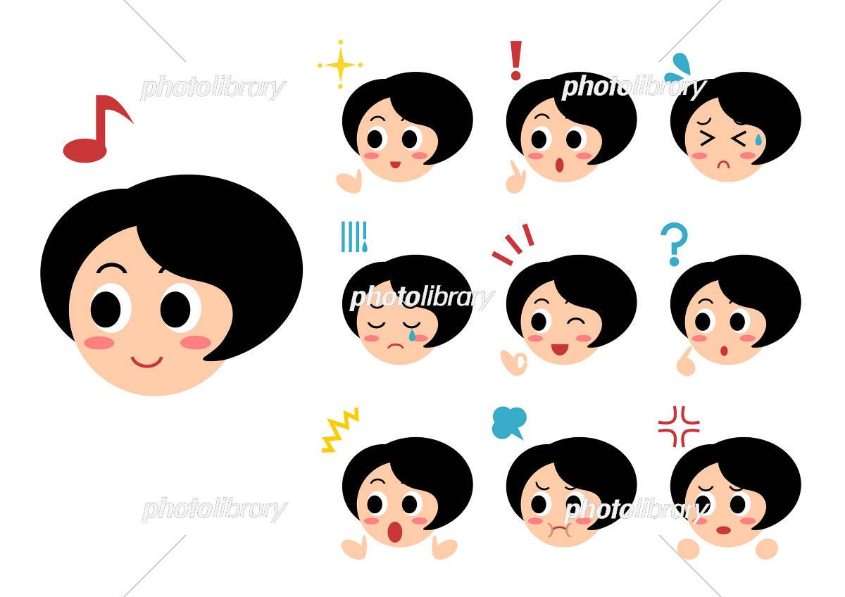 女性 表情 顔 イラスト セット イラスト素材 [ 5333282 ] - フォト