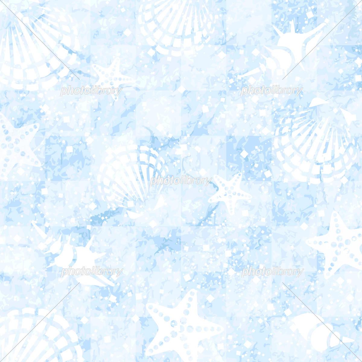 海 貝殻 ヒトデ 背景 素材 イラスト素材 [ 5334049 ] - フォトライブ