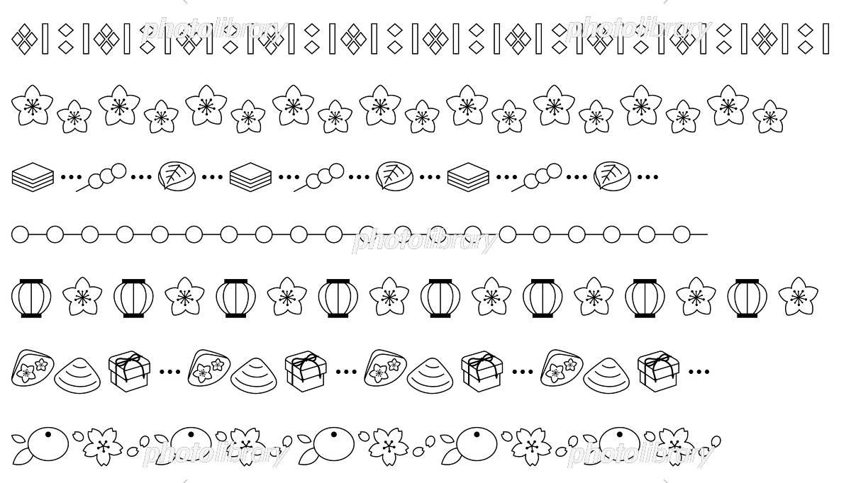 ひな祭りの飾り線 白黒 イラスト素材 5396805 フォトライブラリー
