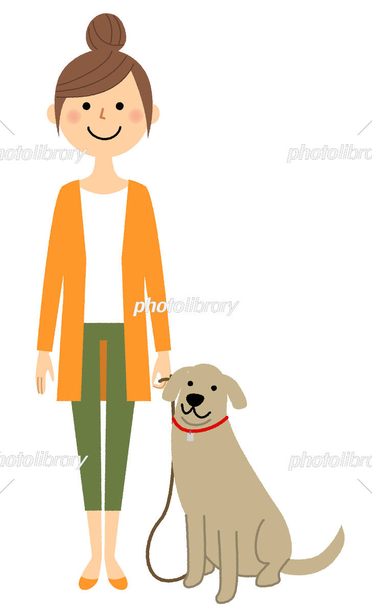 若い女性 ママ 犬の散歩 イラスト素材 [ 5400580 ] - フォトライブラリー