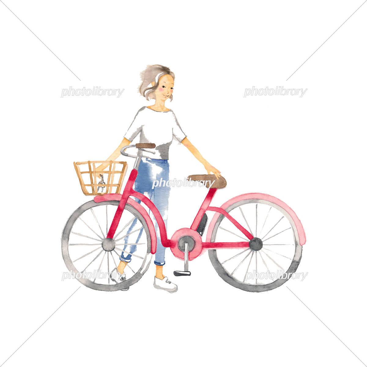 自転車でおでかけ 女性1人 イラスト素材 フォトライブラリー Photolibrary