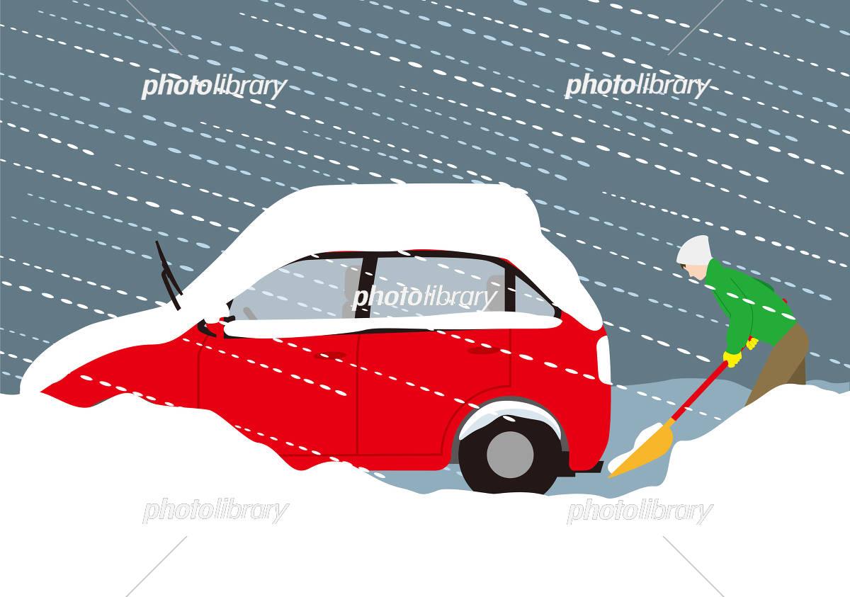 積雪による自動車の排気ガス中毒の予防 イラスト素材 5928669
