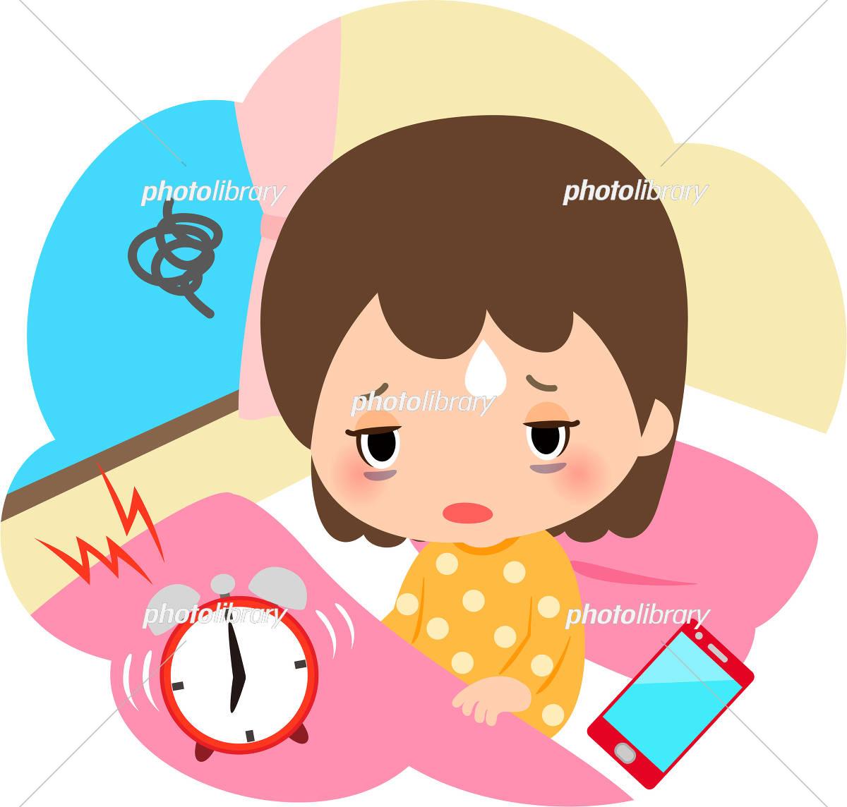 朝起きるのがつらい女の子とスマートフォン イラスト素材 5930738