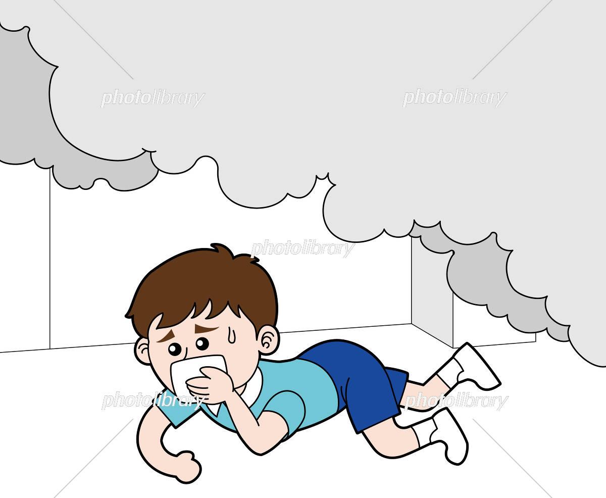ハンカチで口と鼻を押さえながら火災の煙の下を這って進む少年 イラスト