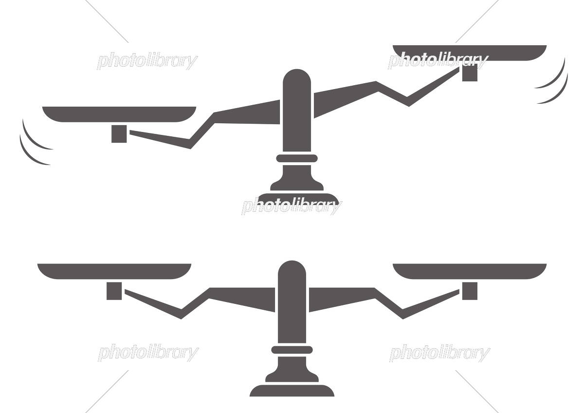 揺れ動く天秤と均衡を保つ天秤のイラストシルエット イラスト素材