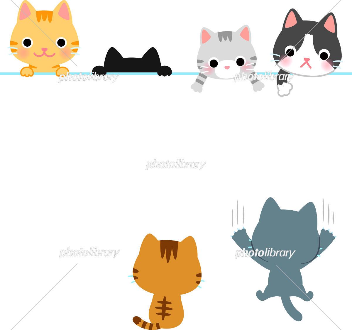 かわいい猫のヘッダー フッターイラスト イラスト素材 フォトライブラリー Photolibrary