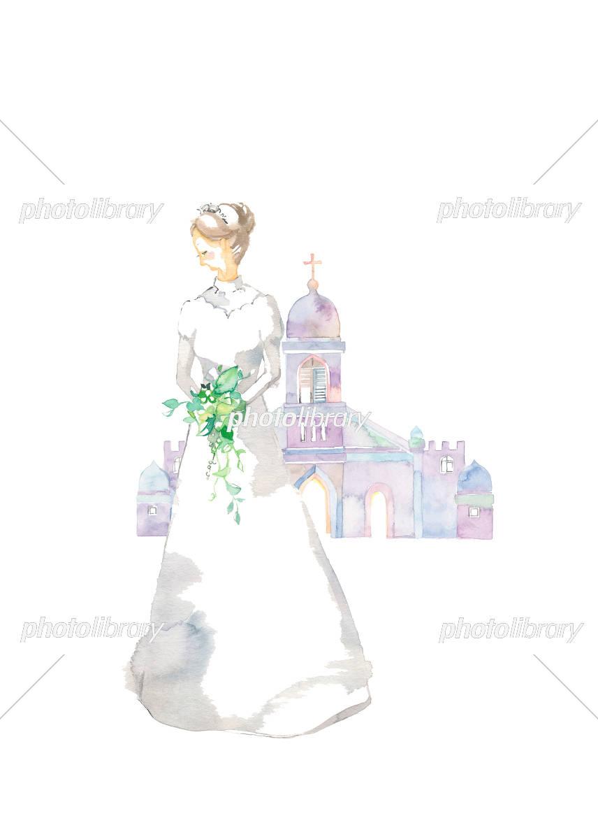 ウェディングドレスと教会 イラスト素材 [ 6075775 ] , フォト