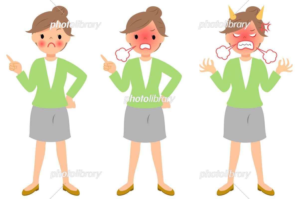 怒っている女性 指差し 全身 イラスト素材 6079613 フォト