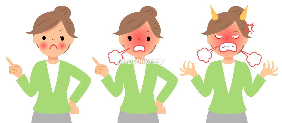 怒っている女性 指差し 上半身 イラスト素材 6079615