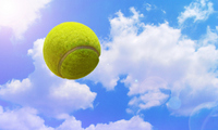 Yellow tennis ball synthesis to fly in the blue sky Stock photo [583460] Blue