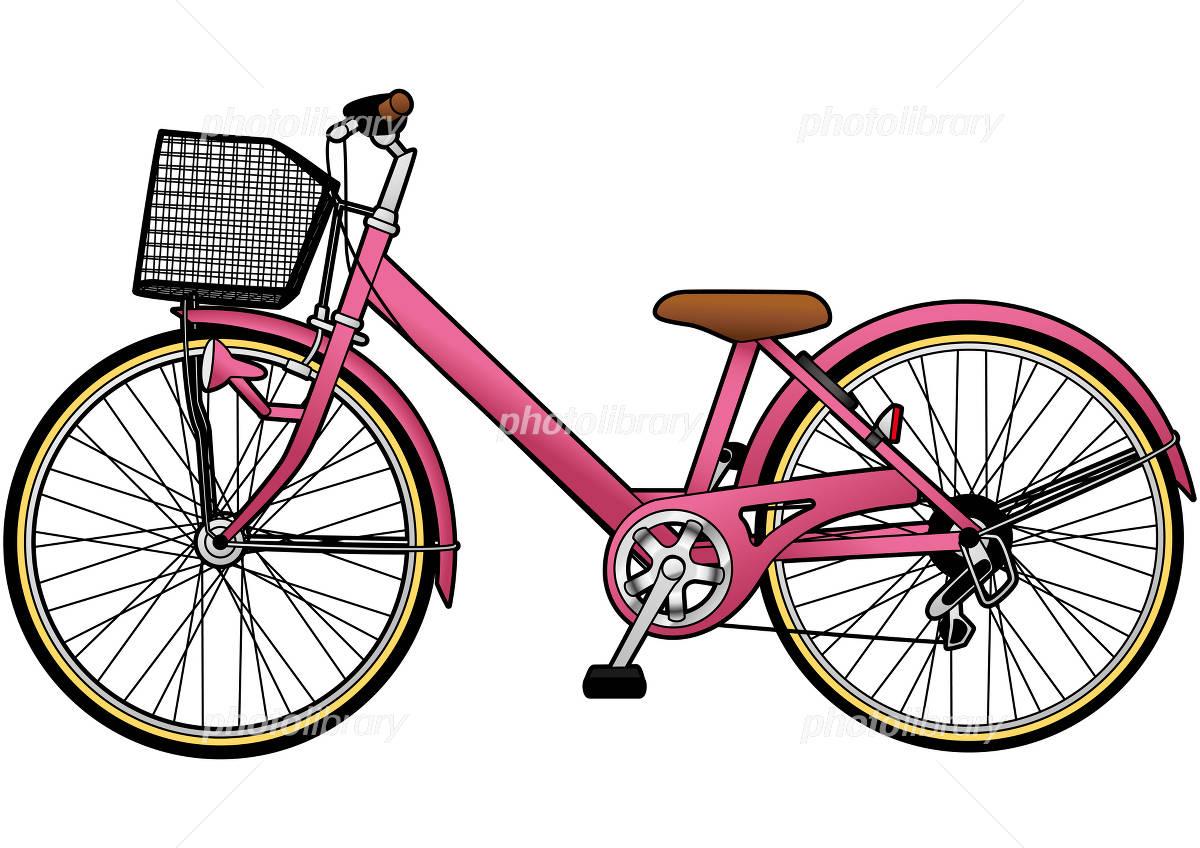 自転車の 自転車 素材 イラスト : 自転車イラスト 桃色 イラスト ...