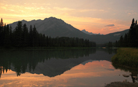 Canadian Rockies sunset as seen from Banff Stock photo [911193] Kanata